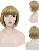 cheap -Synthetic Wig Cosplay Wig Straight Natural Straight Short Bob With Bangs Wig 14 inch Blonde Synthetic Hair Women's Heat Resistant Elastic Natural Blonde