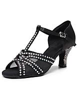 cheap -Women's Latin Shoes Heels High Heel Crystal / Rhinestone Crystal Heel High Heel Open Toe Black Buckle Glitter Crystal Sequined Jeweled / Satin / Satin / Silk