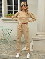 cheap -Women's Basic Streetwear Solid Color Vacation Casual / Daily Two Piece Set Tracksuit T shirt Pant Loungewear Drawstring Cut Out Tops
