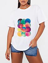 preiswerte -Damen T-Shirt Grafik Druck Rundhalsausschnitt Oberteile 100% Baumwolle Grundlegend Basic Top Weiß Schwarz