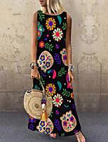 cheap -Women's Shift Dress Maxi long Dress Black Sleeveless Floral Print Spring Summer Round Neck Elegant Casual 2021 S M L XL XXL 3XL