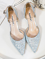 cheap -Women's Wedding Shoes Kitten Heel Pointed Toe Synthetics Buckle Sequin Solid Colored Almond Blue Pink