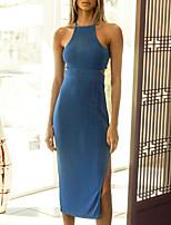 baratos -Mulheres Vestido A Line Vestido midi Preto Azul Rosa Verde Marron Sem Manga Côr Sólida Frente Única Fenda Verão Decote Quadrado ombro frio Casual Sensual 2021 S M L