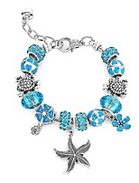 cheap -majesto beach charm bracelet for women and girls 7-8.5 inch sea turtle bracelet sea star ocean summer bracelets sea glass jewelry gifts silver plated
