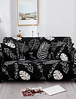 cheap -Black Leaves Print Dustproof All-powerful  Stretch Sofa Cover Super Soft Fabric  with One Free Boster Case