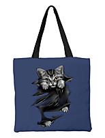 cheap -Unisex Bags Canvas Top Handle Bag Zipper Animal Daily Outdoor Canvas Bag Handbags Black Blue Yellow Army Green