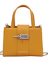 cheap -Women's Bags PU Leather Top Handle Bag Daily 2021 Black Yellow Beige Coffee