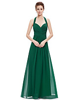 cheap -A-Line Beautiful Back Sexy Wedding Guest Formal Evening Dress Halter Neck Sleeveless Floor Length Chiffon with Sleek 2021