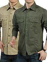 cheap -Men's Hiking Jacket Hiking Shirt / Button Down Shirts Long Sleeve Shirt Coat Top Outdoor Quick Dry Lightweight Breathable Sweat wicking Autumn / Fall Spring Summer Creamy-white ArmyGreen khaki