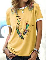 cheap -Women's T shirt Graphic Print Round Neck Tops Basic Basic Top White Blue Yellow