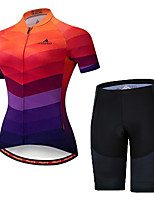 cheap -21Grams Women's Short Sleeve Cycling Jersey with Shorts Spandex Camouflage Bike Breathable Sports Geometic Mountain Bike MTB Road Bike Cycling Clothing Apparel / Stretchy / Athleisure