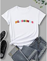 cheap -Women's T shirt Graphic Print Round Neck Tops 100% Cotton Basic Basic Top White Black Blue