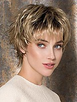 cheap -short pixie cut straight wavy wigs for white women brown ombre blonde synthetic wig hair heat resistant replacement wigs