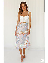 cheap -Women's Date Birthday Party Vintage Boho Skirts Floral Graphic Print Purple Yellow