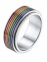 cheap -prosteel pride rings for women men size 9 stainless steel lgbtq pride rainbow fidget ring