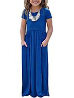 cheap -girls cap summer soft short sleeve cinched long maxi dress casual size 8 blue