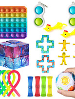 cheap -Squishies Squeeze Toy / Sensory Toy Push Pop Bubble Sensory Fidget Toy Stress Reliever 19 pcs Gift Silicone Plastic Rubber For Kid's Adults' Women Boys and Girls