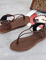 cheap -Women's Sandals Flat Heel Round Toe PU Black Yellow Coffee