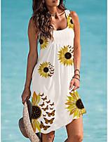 cheap -2021 europe and america amazon sunflower print 30% off dress