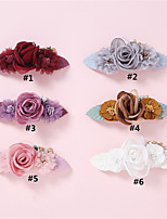 cheap -1pcs Toddler / Infant Girls' Vintage Festival White / Red Floral / Trees / Leaves Floral Style Nylon Hair Accessories White / Purple / Red One-Size