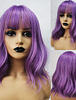 cheap -Purple Short Bob Synthetic Wigs with Bangs Water Wave Natural wigs for Women Wavy Cosplay Wigs Heat Resistant Fiber