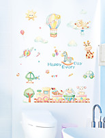 cheap -Cartoon Happy Every Day Balloon Happy Little Train Children's Room Bedroom Kindergarten Background Decoration Wall Stickers 50x70cm