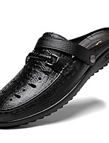 cheap -Men's Unisex Sandals Leather Shoes Flat Sandals Casual Vintage Classic Daily Outdoor Nappa Leather Cowhide Breathable Non-slipping Wear Proof Booties / Ankle Boots Black Spring Summer