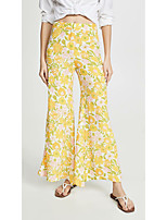 cheap -Women's Chino Boho Comfort Holiday Weekend Bootcut Pants Floral Graphic Ankle-Length Elastic Waist Print Yellow