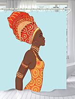 cheap -Earring African Women Digital Printing Shower Curtain Shower Curtains  Hooks Modern Polyester New Design