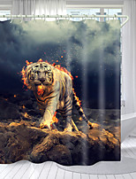 cheap -Domineering Fire Tiger Digital Printing Shower Curtain Shower Curtains Hooks Modern Polyester New Design