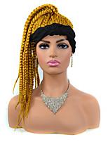 cheap -foreign trade small braid wig headgear light brown headscarf wig headgear black headscarf small dirty braid wig headgear