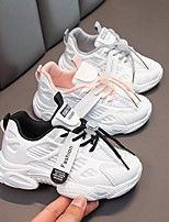 cheap -Unisex Sandals Comfort Children's Day School Shoes PU Lace up Big Kids(7years +) Daily Home Running Shoes Walking Shoes Black Pink Gray Spring Summer