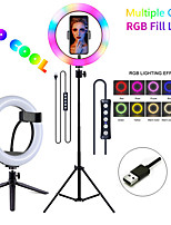 "cheap -10"" 8"" LED Ring Light Dimmable LED With Phone Holder 3 Color Lighting Modes RGB Color Modes for Photography Tiktok Youtube Video Makeup Live Streaming"