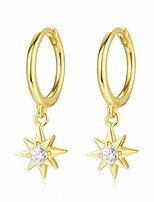 cheap -925 sterling silver gold starburst charm hoop earrings cubic zirconia dainty small star drop dangle huggie hoop earrings