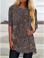 cheap -Women's T Shirt Dress Tee Dress Short Mini Dress Brown Short Sleeve Floral Print Spring Summer Round Neck Casual 2021 S M L XL XXL 3XL