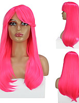 cheap -Cosplay Costume Wig Synthetic Wig Cosplay Wig Straight Natural Straight Side Part Wig Pink+Red Synthetic Hair Women's Adjustable Heat Resistant Elastic Pink