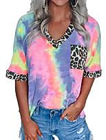 cheap -Women's T shirt Tie Dye Leopard Pocket V Neck Tops Sexy Rock Basic Top Yellow Blushing Pink Gray
