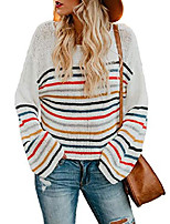cheap -dokotoo women's stylish autumn off one shoulder long sleeve pullovers soft comfy striped color block knit jumpers sweaters white xl