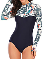 cheap -Women's One Piece Swimsuit Swimwear Quick Dry Breathable Long Sleeve Back Zip - Swimming Surfing Water Sports Floral / Botanical Autumn / Fall Spring Summer