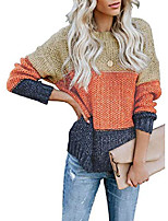 cheap -ladies sweaters, ladies tops sweater knitted sweater with batwing sleeves warm color block sweater is suitable for autumn, winter and spring color block s-xl