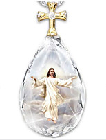 cheap -crystal cross necklace two-color pendant  fashion jesus prayer necklace
