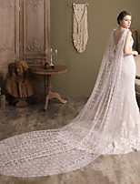 cheap -One-tier Elegant & Luxurious / Cute Wedding Veil Cathedral Veils with Scattered Bead Floral Motif Style Tulle