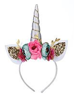 cheap -Kids / Toddler Girls' Unicorn Headband Children's Unicorn Party Headband Princess Birthday Party Headwear Simulation Flower Hair Accessories