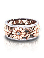 cheap -silver rings women's elegant sunflower dragonfly hollow finger ring band jewelry cubic zirconia ring with side stone copper leaf eternity band
