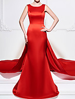 cheap -A-Line Beautiful Back Sexy Engagement Formal Evening Dress Boat Neck Sleeveless Court Train Satin with Appliques 2021