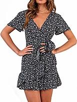 cheap -imaczi summer women short sleeve print dress v neck casual short dresses