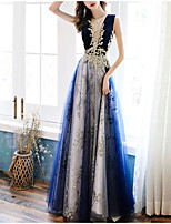cheap -A-Line Color Block Elegant Wedding Guest Formal Evening Dress Illusion Neck Sleeveless Floor Length Tulle with Appliques 2021