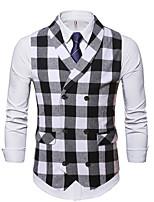 cheap -Men's Vest Gilet Business Work Fall Winter Regular Coat Peaked Lapel Regular Fit Thermal Warm Business Casual Jacket Sleeveless Plaid / Check Pocket White+Black