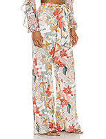 cheap -Women's Streetwear Sophisticated Comfort Daily Weekend Wide Leg Pants Floral Flower / Floral Full Length Drawstring Print Blushing Pink