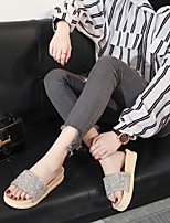 cheap -Women's Slippers & Flip-Flops Flat Heel Round Toe PU Synthetics Almond Black Pink